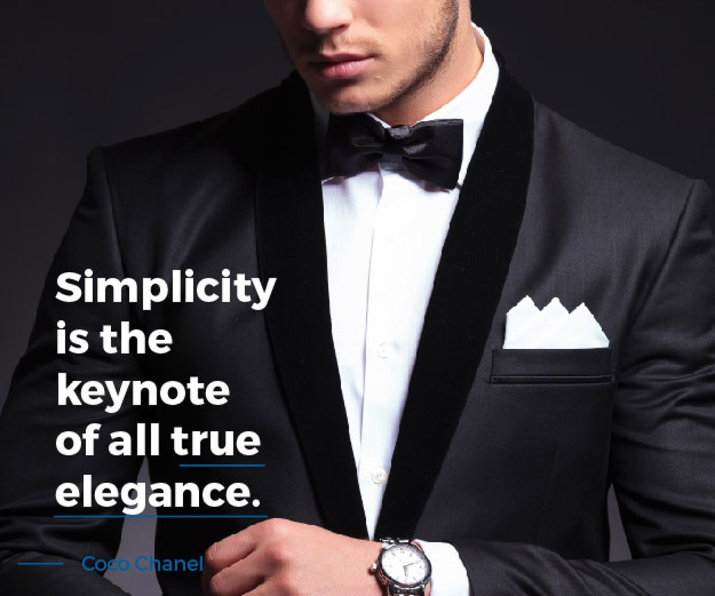 Elegance Quote Businessman Wearing Suit Medium Rectangle Design Template