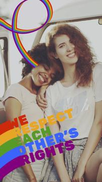 Pride Month Celebration Two Smiling Girls | Vertical Video Template