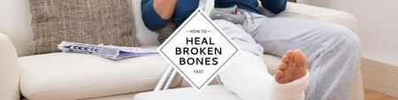 Ontwerpsjabloon van Twitter van Man with broken bones sitting on sofa