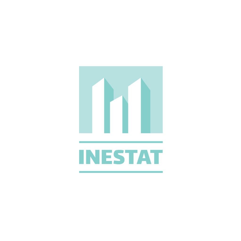 Real Estate Agency Ad Skyscrapers Icon in Blue — Создать дизайн