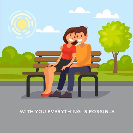 Plantilla de diseño de Couple hugging on a bench Animated Post