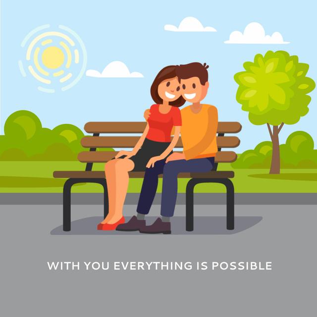 Modèle de visuel Couple hugging on a bench - Animated Post