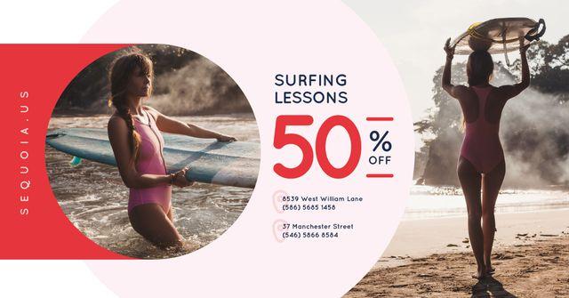 Ontwerpsjabloon van Facebook AD van Surfing School Promotion Woman with Board