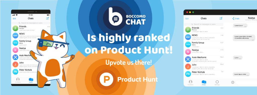 Product Hunt Campaign Chats Page on Screen | Facebook Cover Template — Створити дизайн
