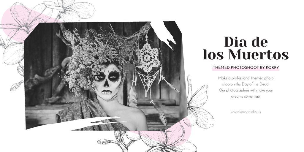 Girl in Dia de los muertos mask Image – шаблон для дизайну