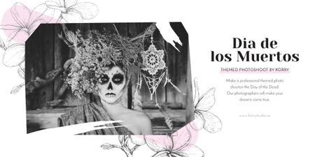 Template di design Girl in Dia de los muertos mask Image