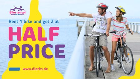 Plantilla de diseño de Bicycles Rent Promotion Couple Riding Bikes on Pier Title