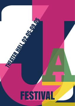 Jazz Festival Announcement with Colorful Inscription