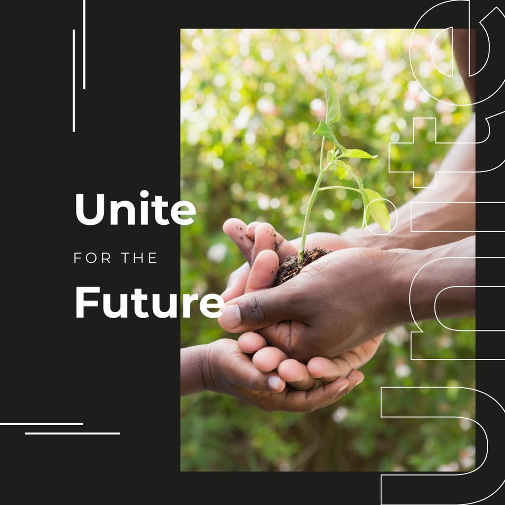 Hand holding growing plant — ein Design erstellen