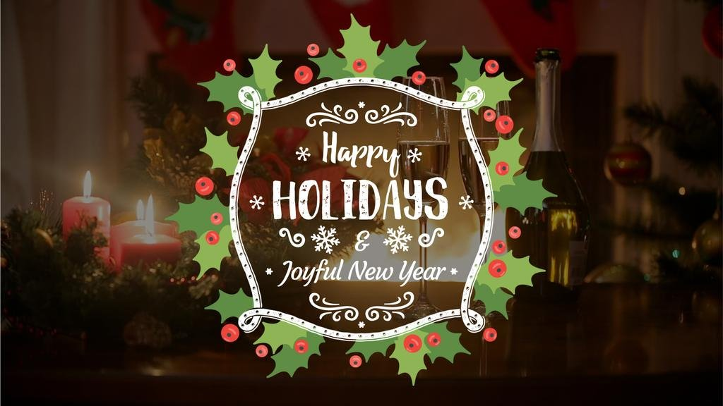 Winter Holidays Greeting Champagne and Candles — Modelo de projeto