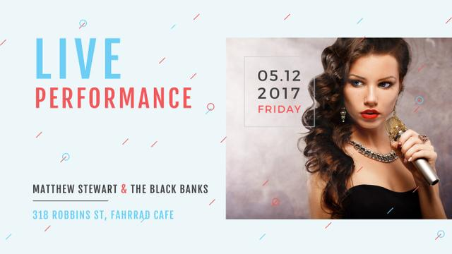 Template di design Live performance Announcement with Female Singer Youtube