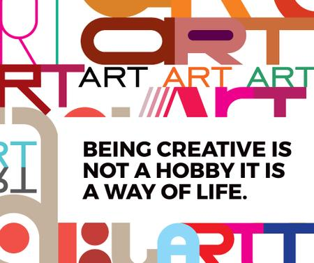 Creativity Quote on colorful Letters Facebook Design Template