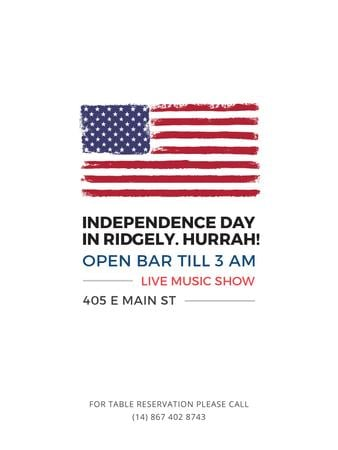 Ontwerpsjabloon van Poster US van Independence Day Invitation USA Flag on White