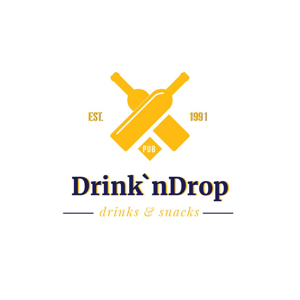 Pub Ad with Drink Bottles Icon in Yellow — Modelo de projeto