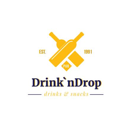 Pub Ad with Drink Bottles Icon in Yellow Logoデザインテンプレート
