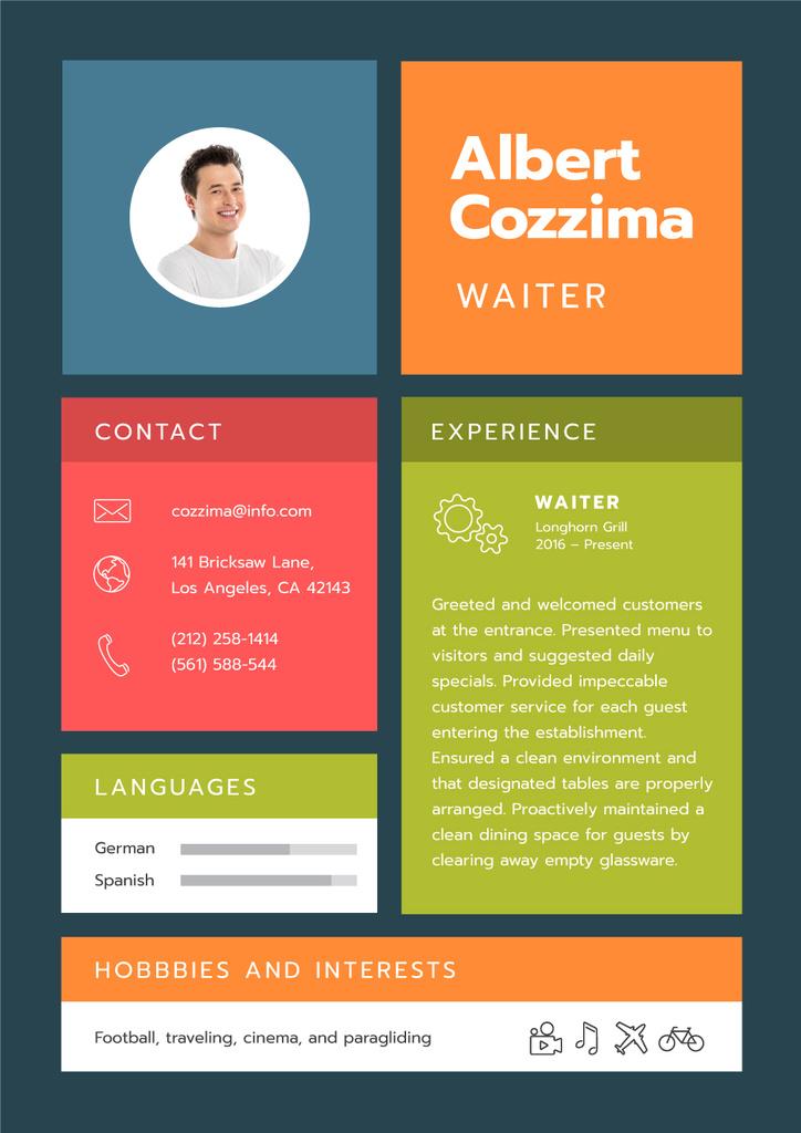 Professional Waiter skills and experience — Maak een ontwerp