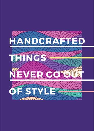Handcrafted things Quote on Waves in purple Invitation Modelo de Design