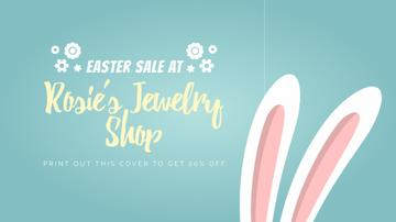 Easter Sale Cute Bunny Ears on Blue