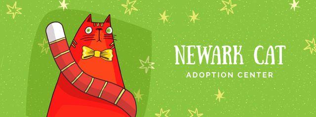 Modèle de visuel Funny cat with bow tie - Facebook Video cover