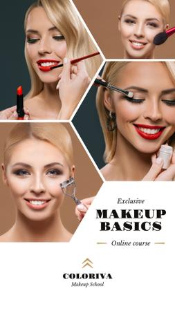Beauty Courses Beautician Applying Makeup Instagram Story Modelo de Design