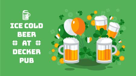 Plantilla de diseño de Saint Patrick's Day clinking Beer Mugs Full HD video
