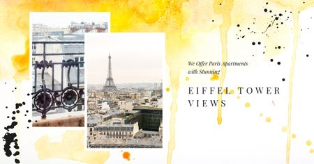 Plantilla de diseño de Real Estate Offer with Paris city view Facebook AD