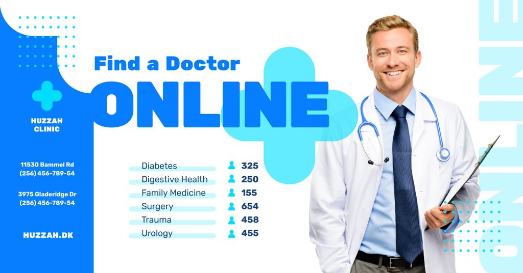 Clinic Promotion Smiling Doctor with Stethoscope | Facebook Ad Template — Создать дизайн