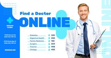 Clinic Promotion Smiling Doctor with Stethoscope | Facebook Ad Template