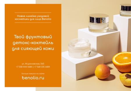Modèle de visuel Cosmetics Ad with Natural Cream with orange - VK Universal Post