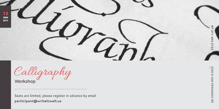 Plantilla de diseño de Calligraphy workshop Invitation Twitter