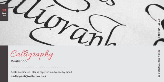 Calligraphy workshop Invitation Twitter Modelo de Design