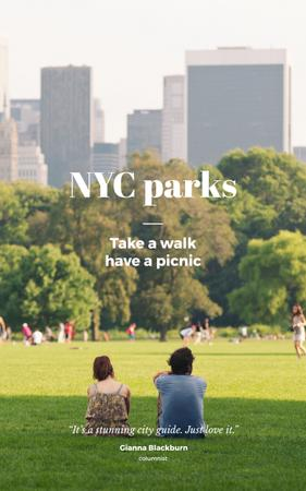 People in New York City Park Book Coverデザインテンプレート