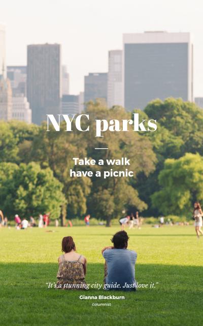 People in New York City Park Book Cover Tasarım Şablonu