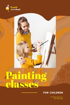 Art Classes Ad Children Painting by Easel