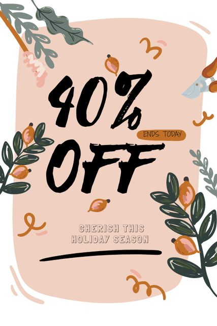 Sale Announcement on Floral frame Tumblr Design Template