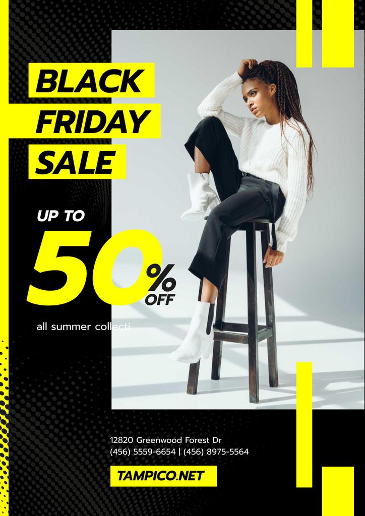 Black Friday Sale with Woman in Monochrome Clothes — Crear un diseño