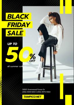 Black Friday Sale with Woman in Monochrome Clothes