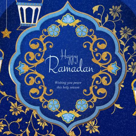 Modèle de visuel Ramadan Kareem Blue Floral frame - Animated Post