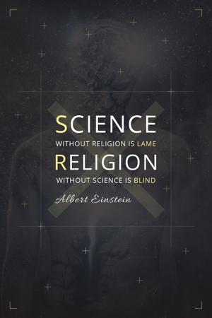 Ontwerpsjabloon van Pinterest van Citation about science and religion