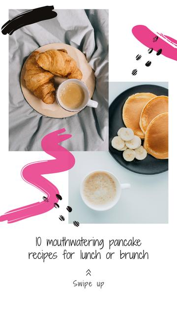 Designvorlage Pancakes Recipes Ad for Lunch and Brunch für Instagram Story