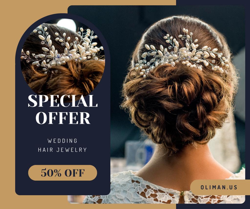 Modèle de visuel Wedding Jewelry Offer Bride with Braided Hair - Facebook