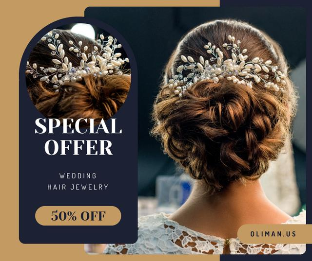 Szablon projektu Wedding Jewelry Offer Bride with Braided Hair Facebook