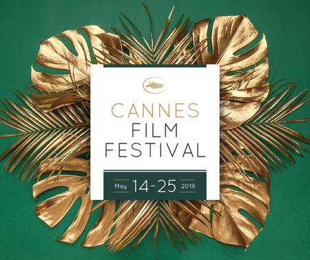 Plantilla de diseño de Cannes Film Festival golden palm Facebook