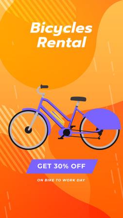 Ontwerpsjabloon van Instagram Video Story van Bicycles Rent Promotion Blue Bicycle on Orange