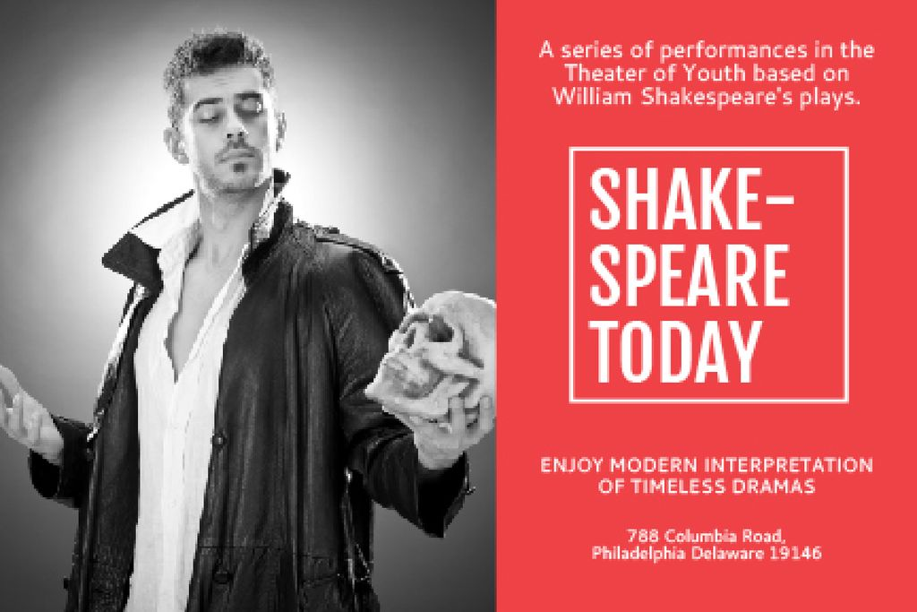Designvorlage Shakespeare's performances in the Theater of Youth für Gift Certificate