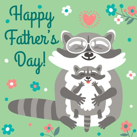 Father's Day Greeting with Raccoons Instagram Modelo de Design