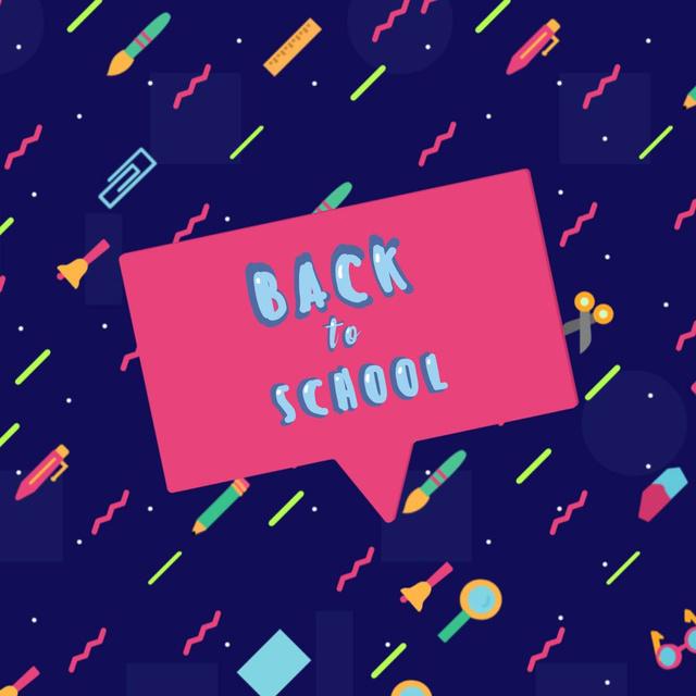 Back to school doodles with speech bubble Animated Post – шаблон для дизайну