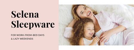 Plantilla de diseño de Sleepware Offer with Mother and Daughter in bed Facebook cover
