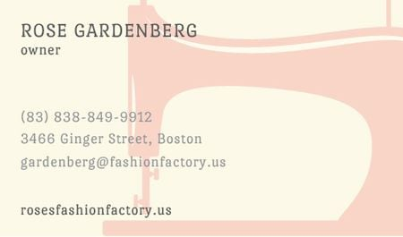Ontwerpsjabloon van Business card van Sewing machine silhouette