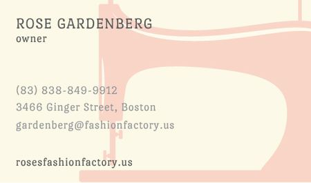 Sewing machine silhouette Business card Modelo de Design